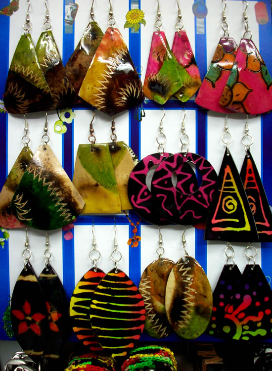 12 Peruvian Totumo Earrings Colorful Mixed Boho Images