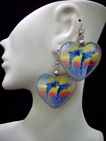 Heart Design Teardrop Peruvian Thread Earrings