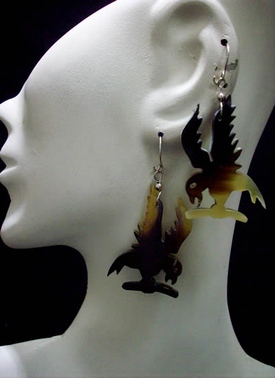 06 Pretty Peruvian Bull Horn Earrings Animal Design Colorful
