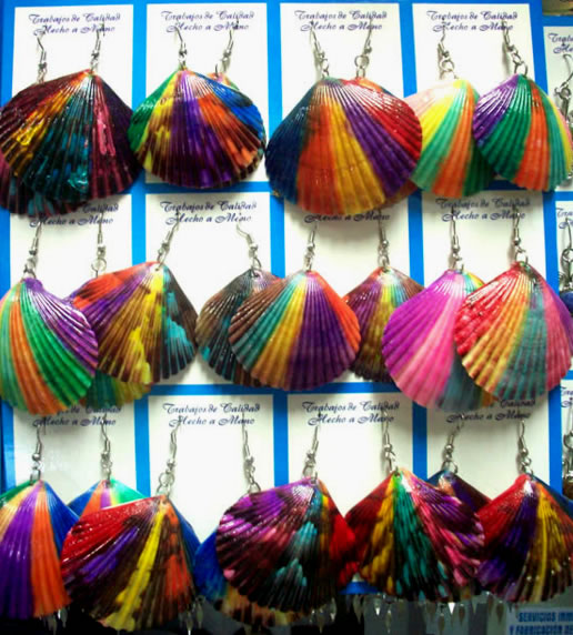 12 Peruvian Wholesale Seashell Earrings Hand Painted Colorful