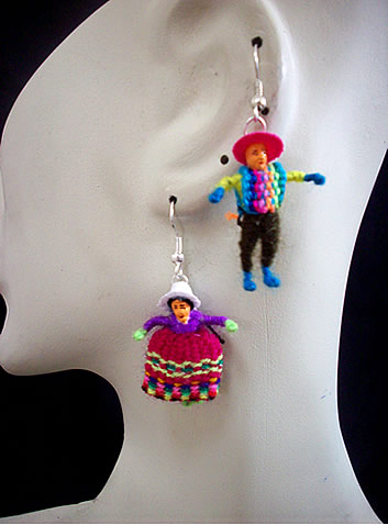 Lot 100 Peruvian Wholesale Worry Dolls Earrings Duo Images