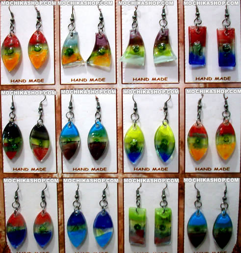 12 Pretty Peruvian Fused Glass Earrings Assorted Images Colorful