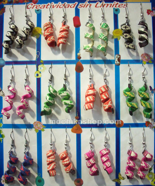50 Wholesale Handmade Cane Arrow Earrings Spiral Design Colored