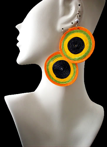12 Peruvian Wholesale Macrame Earrings Spiral Design Colorful