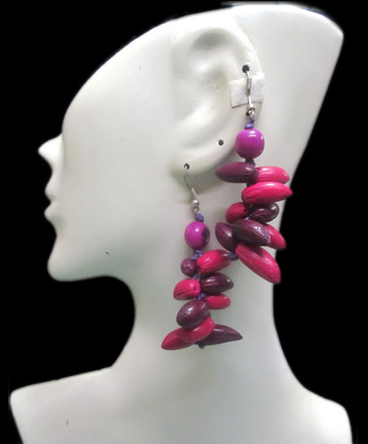 Lot 12 Peruvian Wholesale Multicolor Olive Seeds Earrings