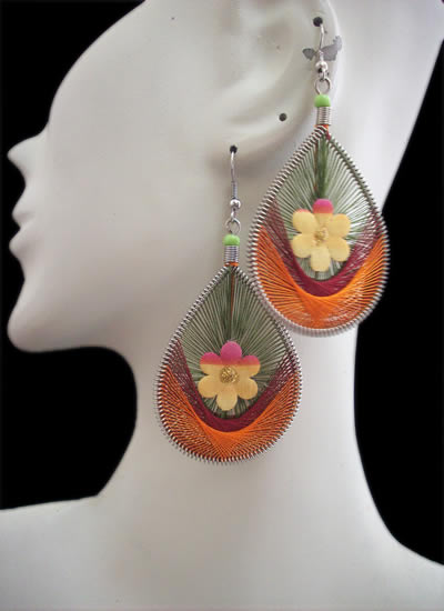 Flower Teardrop Peruvian Thread Earrings