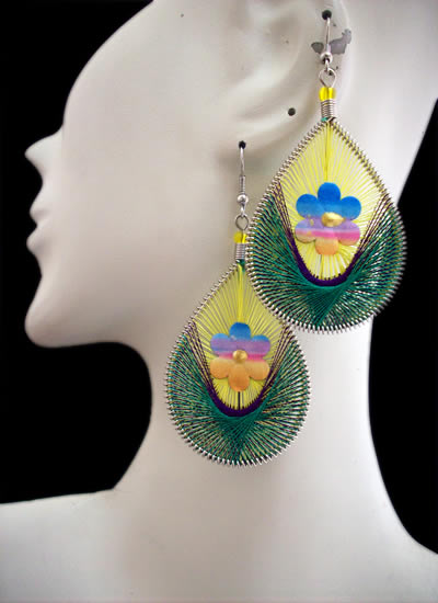 6 Beautiful Peruvian Flower Teardrop Thread Earrings