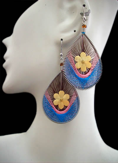 Lot 24 Peruvian Wholesale Flower Teardrop Thread Earrings