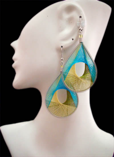 Hole Teardrop Peruvian Thread Earrings