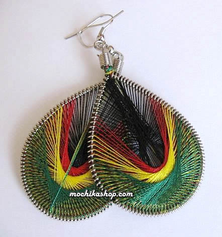 Rasta Reggae Design Teardrop Peruvian Thread Earrings