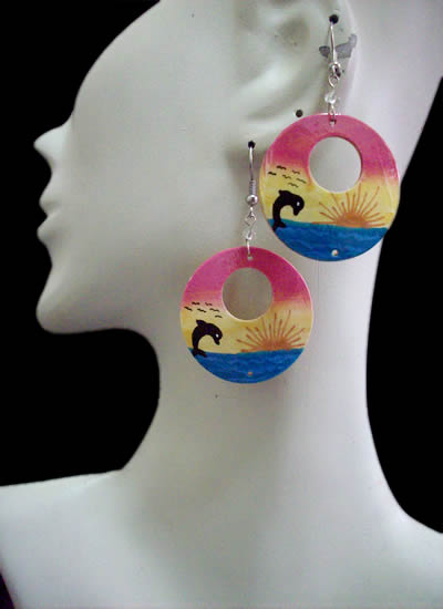 06 Peruvian Beautiful Bamboo Earrings Donuts Design Mixed Images