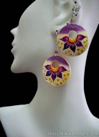 12 Peruvian Wholesale Bamboo Earrings Donuts Design Mixed Images