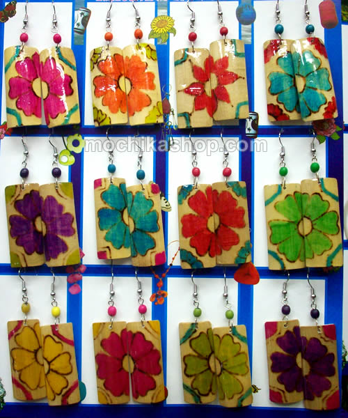 12 Peruvian Wholesale Bamboo Earrings Square Shape Flower Design
