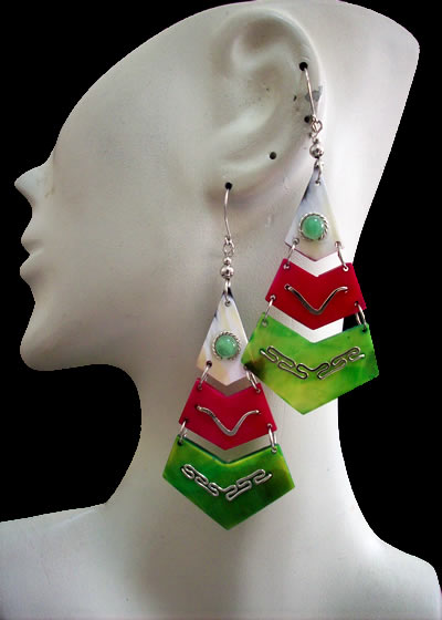 12 Pretty Peruvian Bull Horn Earrings Teardrop Design