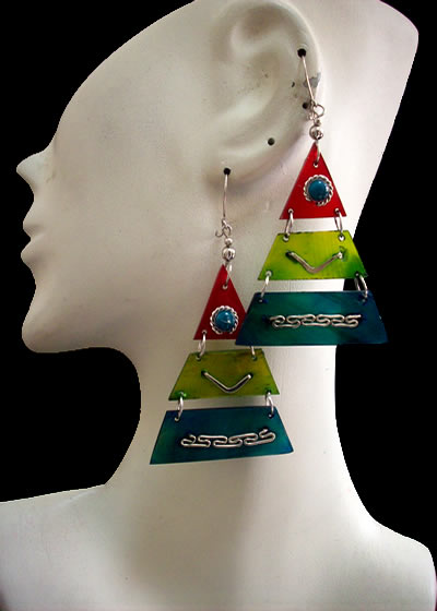 Lot 24 Nice Peruvian Bull Horn Earrings Teardrop Design Tricolor