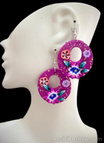 06 Peruvian Nice Rubber Earrings Assorted Flower Images