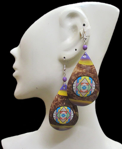 Resinated Images Coconut Earrings