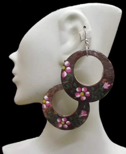 12 Peruvian Coconut Earrings Geometric Flowers Images