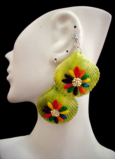 24 Peru Wholesale Seashell Earrings Hand Painted Flower Images