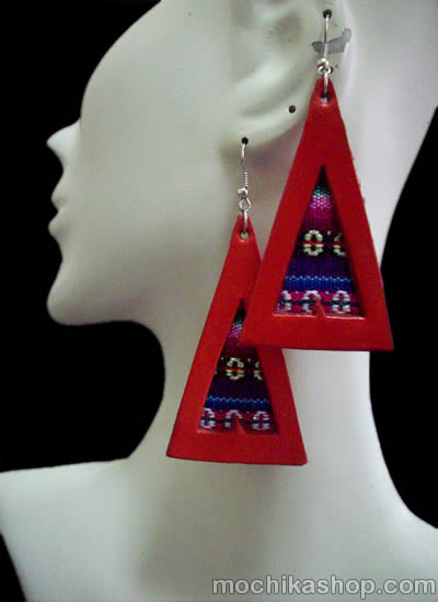 06 Nice Peruvian Cusco Blanket Leather Earrings Colorful