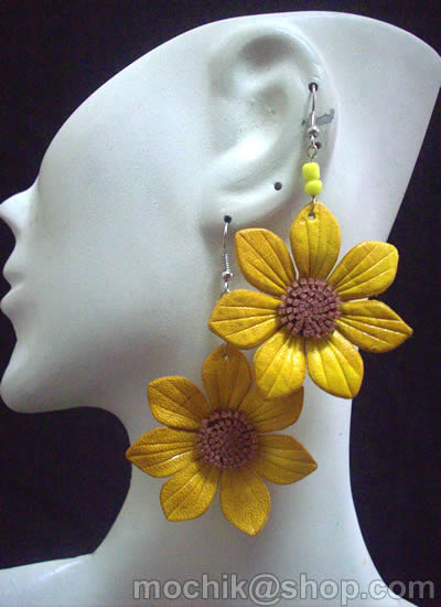 06 Peruvian Leather Earrings Flower Mixed Design Colorful