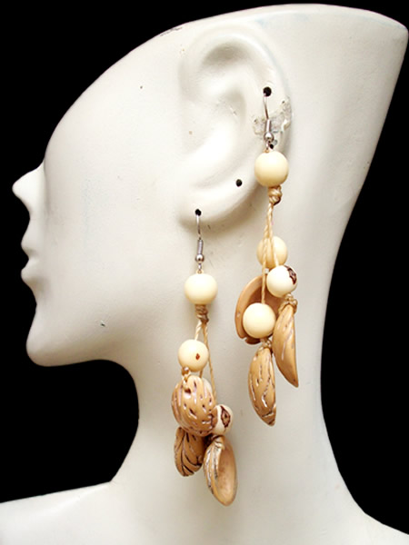 Lot 24 Nice Peruvian Peach Earrings with Acai Seeds Bunch Design