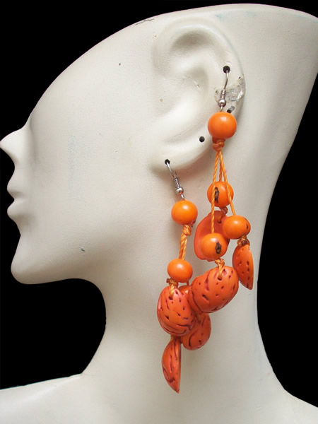 06 Peru Peach Earrings with Acai Seeds Bunch Design Colorful