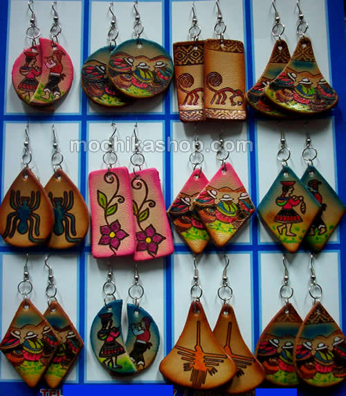 12 Peruvian Wholesale Leather Earrings Hand Painted Images