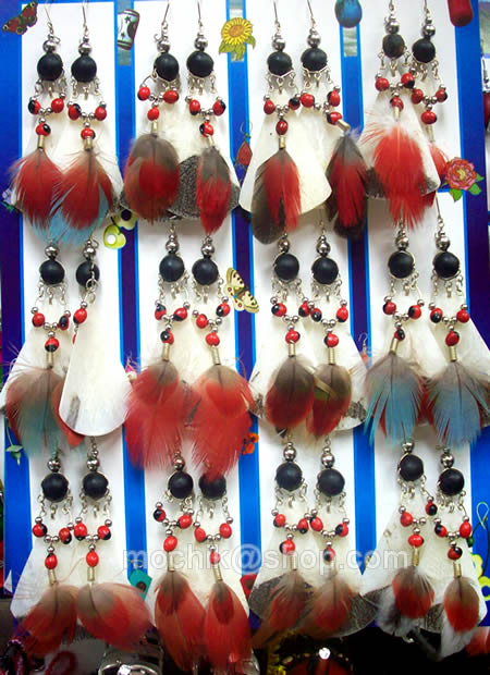 Feathers Peruvian Fish Scale Earrings