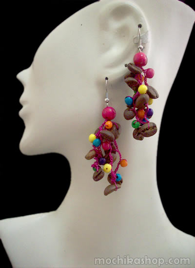 Lot 24 Peruvian Wholesale Coffee Seeds Earrings with Achira Seed