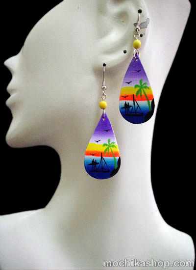 Hand Painted Summer Images Coconut Earrings