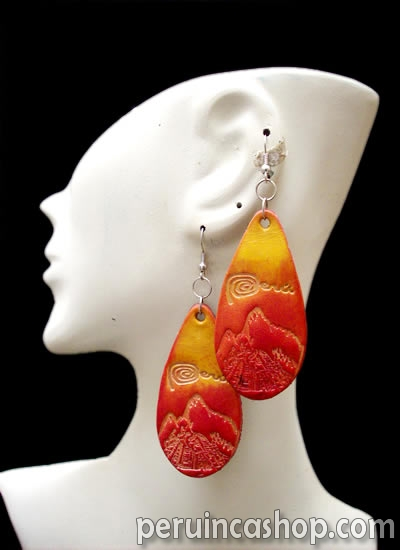 12 Peruvian Carved Leather Earrings Machu Picchu Images