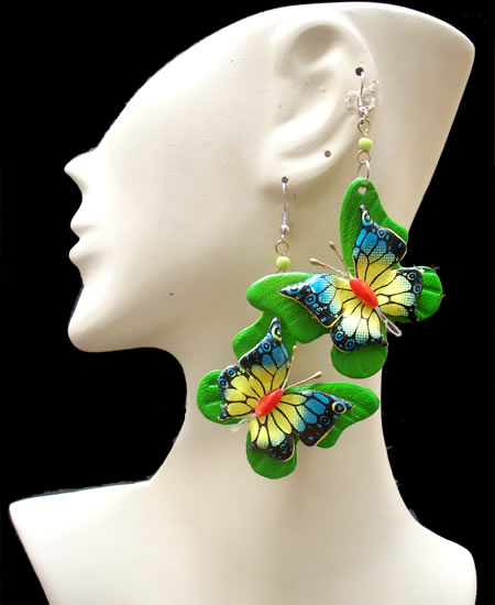 50 Peruvian Wholesale Leather Earrings Butterfly Design