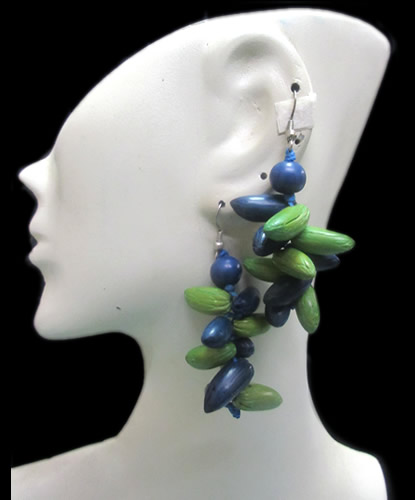 24 Peruvian Wholesale Multicolor Olive Seeds Earrings