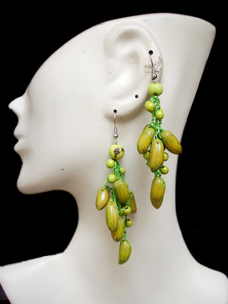 6 Pretty Peruvian Achira Olive Seeds Earrings Whole Color