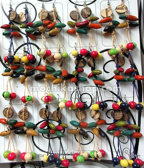 Lot 24 Peru Wholesale Coconut Earrings with Olive Seeds Colorful