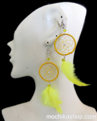 Lot 24 Peruvian Wholesale Feathers Dreamcatcher Earrings Colored