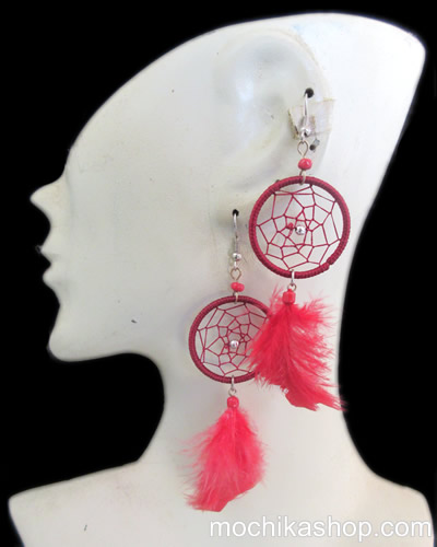 06 Beautiful Peruvian Feathers Dreamcatcher Earrings Colorful