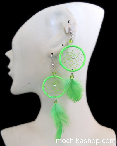 12 Peruvian Wholesale Feathers Dreamcatcher Earrings Colorful