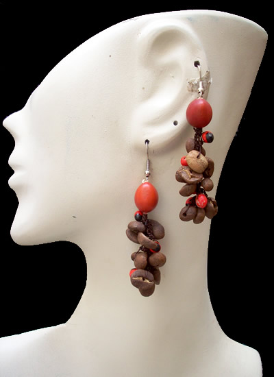 12 Peruvian Coffee Seeds Earrings with Huayruro Seeds
