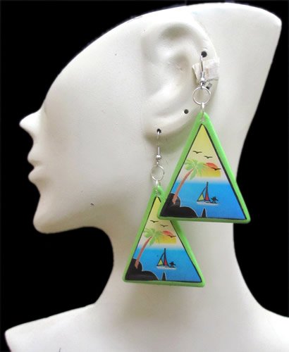 06 Peruvian Pretty Resined Rubber Earrings Varied Images