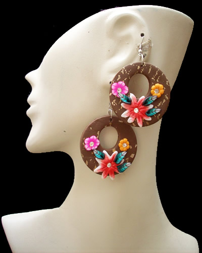 06 Peruvian Nice Resined Rubber Earrings Flower Images