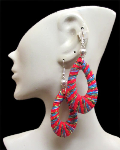 06 Peruvian Cusco Blanket Fabric Textile Earrings Donuts Design