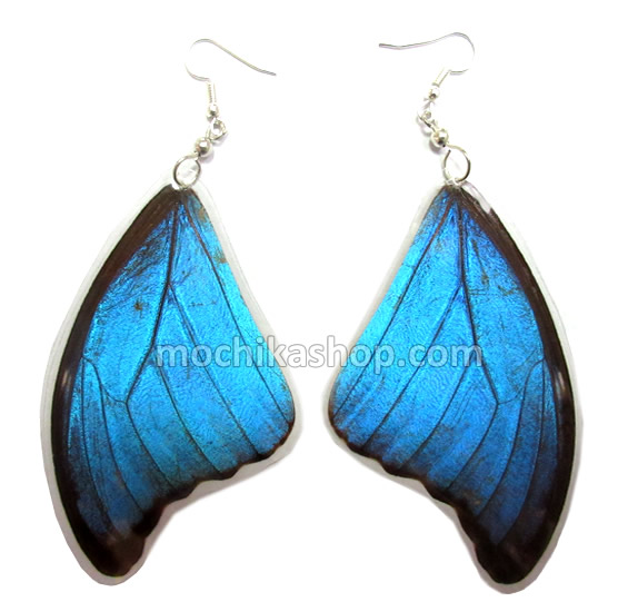 06 Pretty Inca Peruvian Morpho Blue Butterfly Wings Earrings