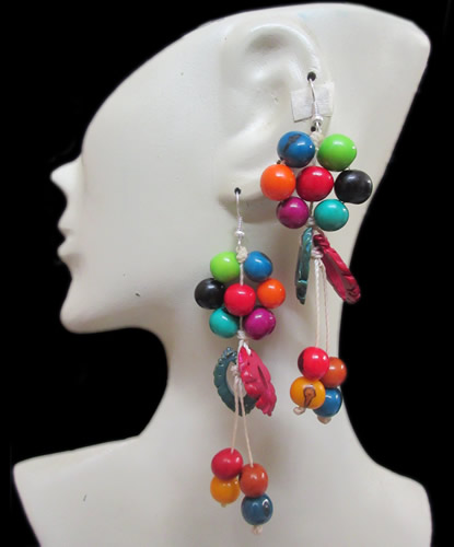 50 Peru Wholesale Colorful Peach Seeds Earrings with Acai Beads