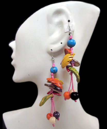 Lot 24 Peruvian Nice Colorful Half Peach Earrings with Acai Seed