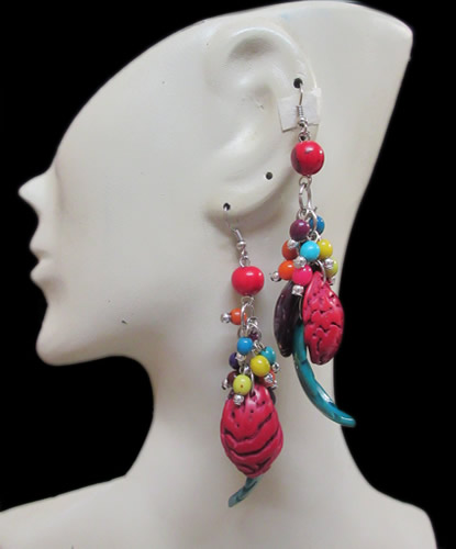 50 Peru Wholesale Colored Peach Seeds Earrings with Achira Beads