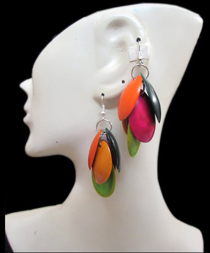 06 Beautiful Peruvian Tribal Palmito Seeds Earrings Multicolor