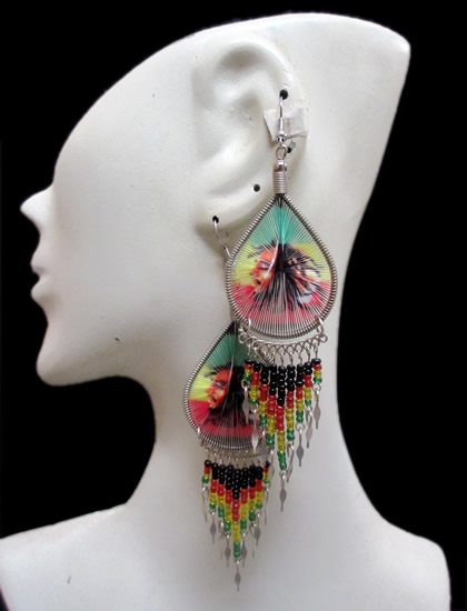 12 Peruvian Wholesale Teardrop Thread Earrings Rasta Canutillo