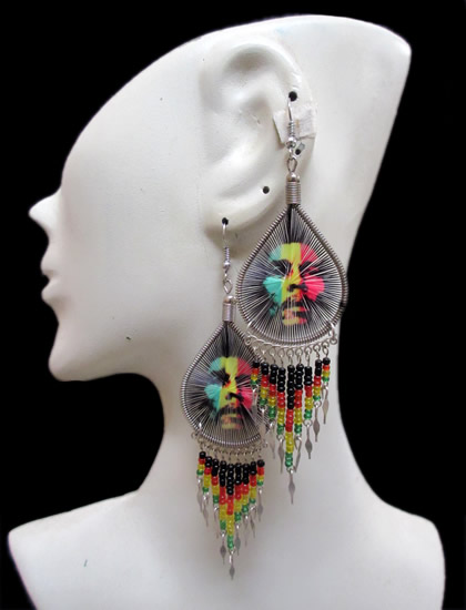 6 Nice Peruvian Teardrop Thread Earrings Rasta Canutillo Design
